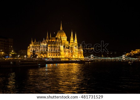 Hungarian Parliament building in Budapest at the night