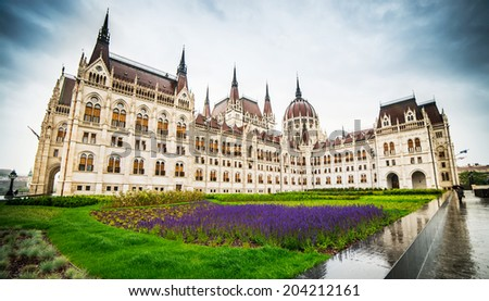 Hungarian Parliament building in Budapest, Hungary - stock photo