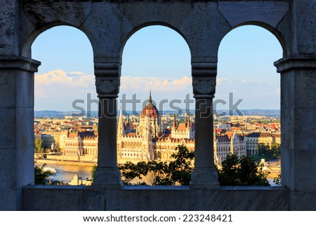 Hungarian Parliament Building in Budapest, View from Fisherman's Bastion - stock photo