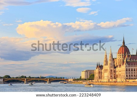 Hungarian Parliament Building in Budapest, World Heritage Site by UNESCO - stock photo