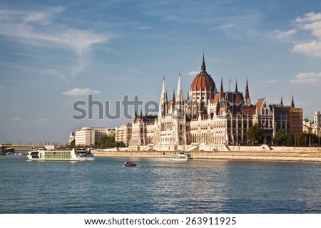 Hungarian Parliament building on Danube river Budapest - stock photo
