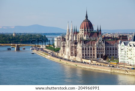 Hungarian Parliament in a sunny day   - stock photo