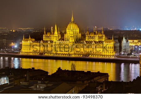 Hungarian Parliament night view, Budapest, Hungary - stock photo