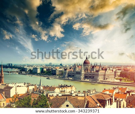 Hungarian Parliament view from fishermen Bastion in Budapest - stock photo