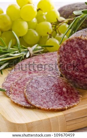Hungarian spicy salami - stock photo