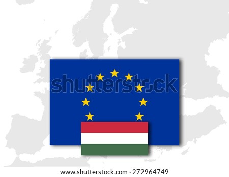 Hungary  and European Union Flag with Europe map background - stock photo