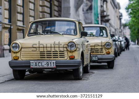 HUNGARY, BUDAPEST - JUNE 01, 2014: Old car on the street (Trabant)