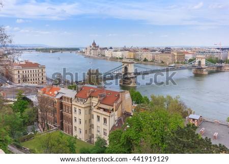 Hungary, Budapest, Parliament, Chain Bridge and Danube River - stock photo