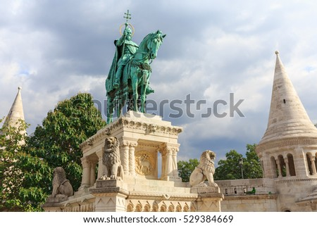 Hungary capital, Budapest. Fisherman's Bastion and he monument to St. Istvan