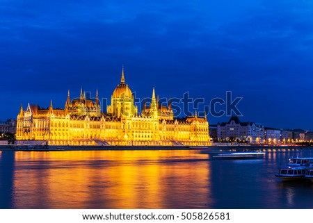 Hungary capital, Budapest.  Night view over the building of the Hungarian Parliament