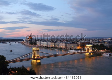 Hungary, Chain Bridge and Danube river in Budapest at night - stock photo