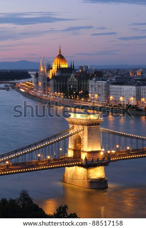 Hungary, Chain Bridge and Danube river in Budapest at night - stock photo