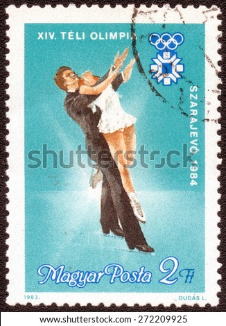 """HUNGARY - CIRCA 1983: A post stamp printed in HUNGARY shows a series of images """"Dancing on Ice"""", circa 1983 - stock photo"""