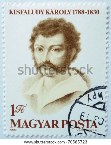 HUNGARY - CIRCA 1980: a stamp from Hungary shows image of Karoly Kisfaludy (1788-1830), poet and dramatist, circa 1980