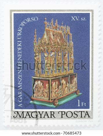 HUNGARY - CIRCA 1980: a stamp from Hungary shows the Easter Casket of Garamszentbenedek (in present day Slovakia), circa 1980