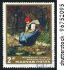 HUNGARY - CIRCA 1964: A stamp printed by Hungary, show girl in red  kerchief, by Munkacsy Mihaly, circa 1964 - stock photo