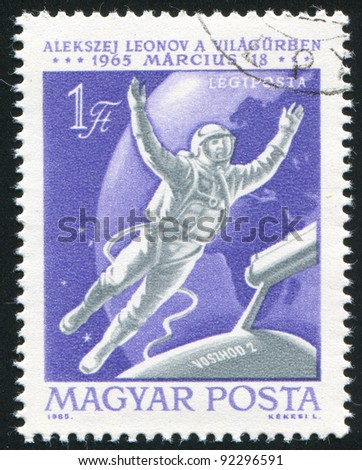HUNGARY - CIRCA 1965: A stamp printed by Hungary, shows astronaut, circa 1965
