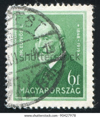 HUNGARY - CIRCA 1932: A stamp printed by Hungary, shows Baron Roland Eotvos, circa 1932