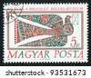 HUNGARY - CIRCA 1990: A stamp printed by Hungary, shows Bird Holding a Letter, circa 1990 - stock photo
