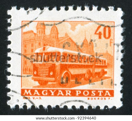 HUNGARY - CIRCA 1963: A stamp printed by Hungary, shows bus, circa 1963