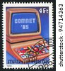 HUNGARY - CIRCA 1985: A stamp printed by Hungary, shows Computer Terminal, circa 1985 - stock photo