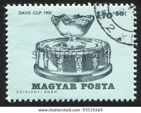 HUNGARY - CIRCA 1964: A stamp printed by Hungary, shows Davis Cup of 1900, circa 1964 - stock photo
