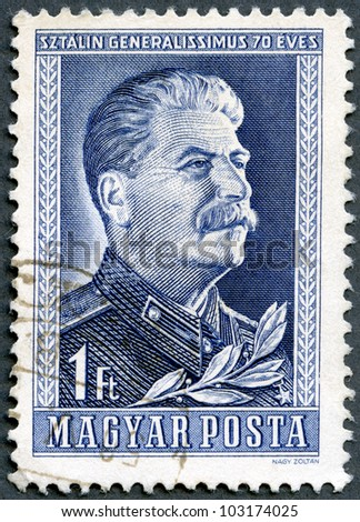 HUNGARY - CIRCA 1949: A stamp printed by Hungary, shows Joseph Vissarionovich Stalin, 70th anniversary of the birth of Joseph Stalin, circa 1949