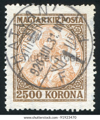 HUNGARY - CIRCA 1922: A stamp printed by Hungary, shows Madonna and child, circa 1922 - stock photo