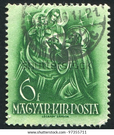HUNGARY - CIRCA 1937: A stamp printed by Hungary, shows Saint Spephen offering holy crown to Virgin Mary, circa 1937 - stock photo