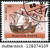 "HUNGARY - CIRCA 1988: A Stamp printed in Hungary a shows image ""Santa Maria"" in a 1492 year, circa 1988 - stock photo"