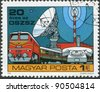 HUNGARY-CIRCA 1978: A stamp printed in Hungary, devoted to 20th anniversary of the Organization for Communication Cooperation of Socialist Countries, depicted Train, Telephone, Parabolic, circa 1978 - stock photo