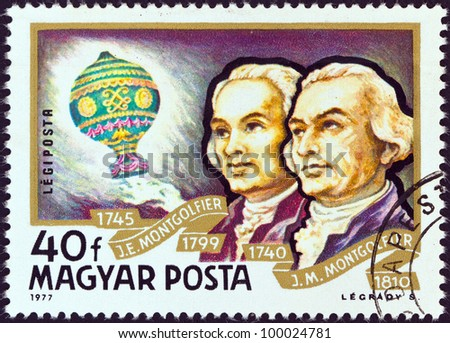 "HUNGARY - CIRCA 1977: A stamp printed in Hungary from the ""Airships "" issue shows Montgolfier Brothers and Balloon, circa 1977."