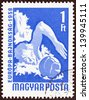 "HUNGARY - CIRCA 1958: A stamp printed in Hungary from the ""European Table Tennis, Swimming and World Wrestling Championships, Budapest"" issue shows water polo player, circa 1958. - stock photo"