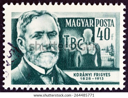 """HUNGARY - CIRCA 1954: A stamp printed in Hungary from the """"Scientists """" issue shows physician Baron Frigyes Koranyi de Tolcsva (1828-1913), circa 1954.  - stock photo"""