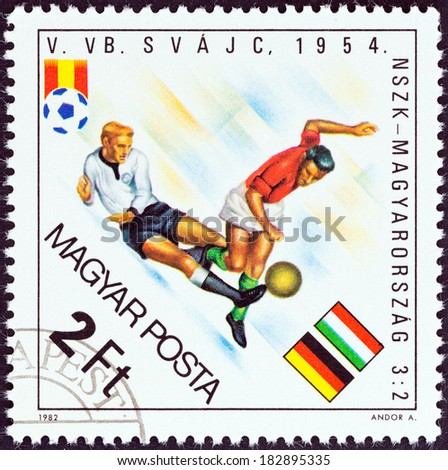 "HUNGARY - CIRCA 1982: A stamp printed in Hungary from the ""World Cup Football Championship, Spain "" issue shows West Germany v. Hungary, 1954, circa 1982. - stock photo"