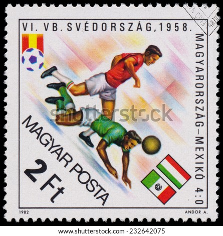 """HUNGARY - CIRCA 1982: A stamp printed in Hungary from the """"World Cup Football Championship, Spain """" issue shows Hungary v. Mexico, 1958, circa 1982.  - stock photo"""