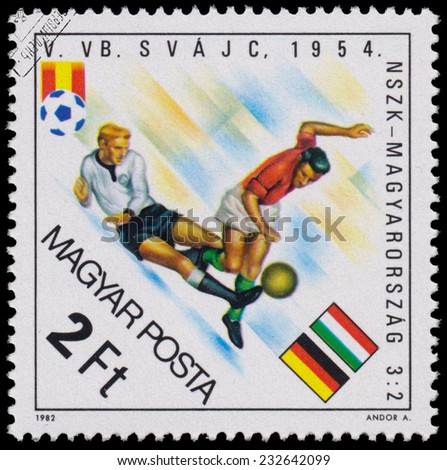 "HUNGARY - CIRCA 1982: A stamp printed in Hungary from the ""World Cup Football Championship, Spain "" issue shows Germany v. Hungary, 1954, circa 1982.  - stock photo"