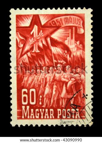 HUNGARY - CIRCA 1951: A Stamp printed in Hungary honoring 1 st of May, circa 1951 - stock photo