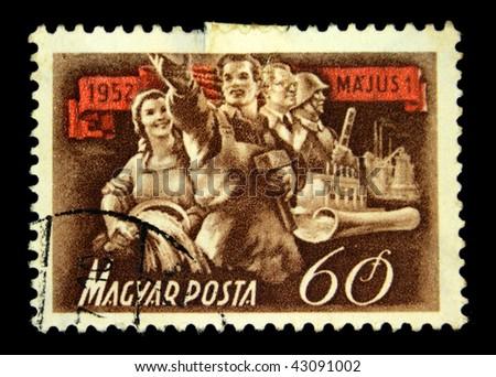 HUNGARY - CIRCA 1952: A Stamp printed in Hungary honoring 1 st of May, circa 1952 - stock photo