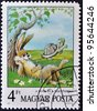 HUNGARY - CIRCA 1987: A stamp printed in Hungary show illustration for fairy tale Hare and the Tortoise, circa 1987 - stock photo