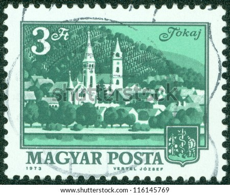 HUNGARY - CIRCA 1973: A stamp printed in Hungary showing a view of Tokay, circa 1973.