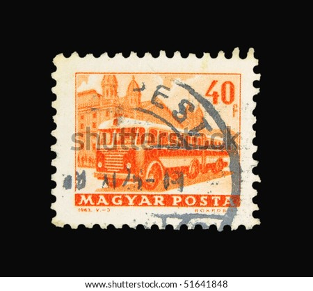 HUNGARY - CIRCA 1963: A stamp printed in Hungary showing bus, circa 1963