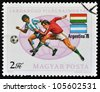 HUNGARY - CIRCA 1978: A stamp printed in Hungary showing football players of Hungary against Argentina, circa 1978 - stock photo