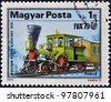 HUNGARY - CIRCA 1979: A stamp printed in Hungary shows a locomotive, 1836 chicago & north western, circa 1979 - stock photo