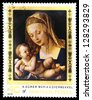 "HUNGARY - CIRCA 1978: A stamp printed in Hungary, shows a picture of artist Albrecht Durer "" Madonna with Child"", the same inscription, series ""450th Death Anniversary of Albrecht Durer"", circa 1978 - stock photo"