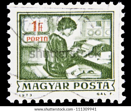"HUNGARY - CIRCA 1973: A stamp printed in Hungary shows Data-recording machine without inscription, from the series ""Postal Operations"", circa 1973"