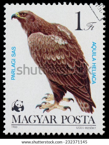 """HUNGARY - CIRCA 1983: A stamp printed in Hungary shows Eastern Imperial Eagle (Aquila heliaca), from the series """"Bird of prey"""", circa 1983  - stock photo"""