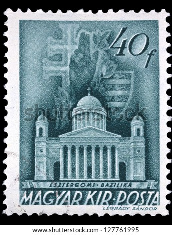 "HUNGARY - CIRCA 1939: A stamp printed in Hungary shows Esztergom Basilica, with the same inscription, from the series ""Church in Hungary"", circa 1939 - stock photo"