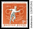 """HUNGARY - CIRCA 1970: A stamp printed in Hungary, shows fencing and Olympic Rings, with inscription and name of series """"75th Anniversary of Hungarian Olympic Committee, 1895 - 1970"""", circa 1970 - stock photo"""