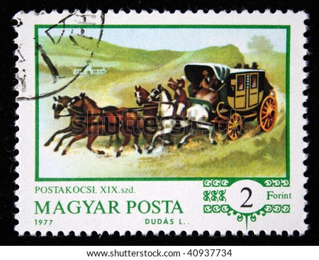 HUNGARY - CIRCA 1977: A stamp printed in Hungary shows Horse-drawn carriages, series, circa 1977